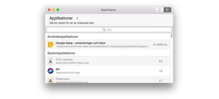 AppCleaner Sök appar