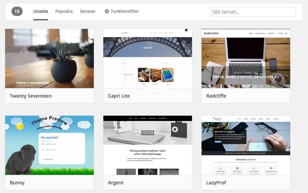Wordpress teman frontsida